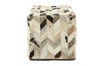 Lauren Pouffe Genuine Cowhide Leather Black / White Patchwork