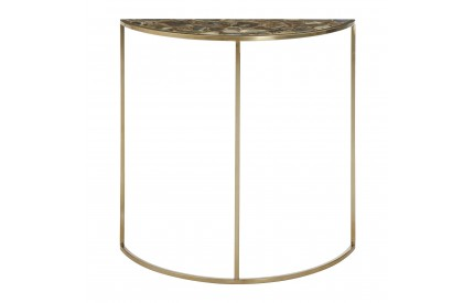 Vita Half Moon Table Black Agate Top Gold Finish Steel Frame