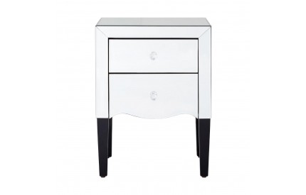 Graciela Bedside Table 2 Drawers Mirrored