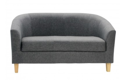 2 Seater Tub Sofa Linen Fabric Dark Grey