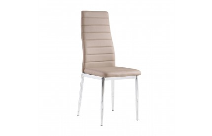 Pearl Leather Chairs with Chrome Legs