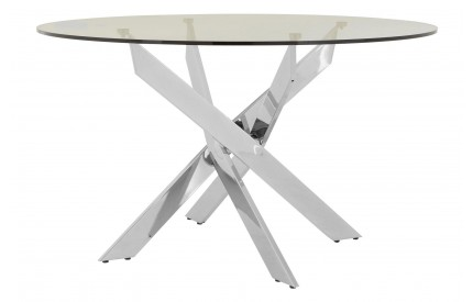 Premium Round Dining Table Clear Glass Chrome