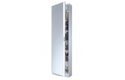 High Gloss White Mirrored Shoe Cabinet Large