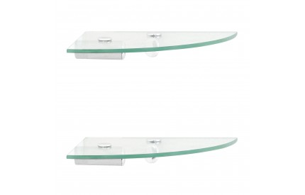 Glass Corner Wall Shelves x2