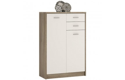 4 You Tall 2 Door 2 Drawer Cupboard in Canyon Grey / Pearl White