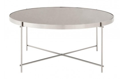 Premium Coffee Table Grey Mirror Brushed Nickel