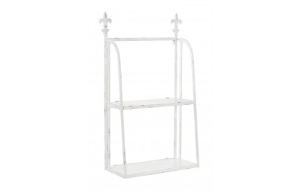 Wall Mountable Shelf Unit 2 Tier White Metal