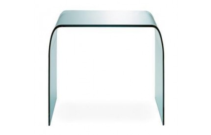 Curved Glass Clear Lamp Table