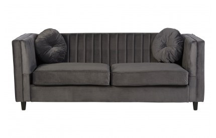 Furrah 3 Seat Sofa Grey Velvet Pleat Detail