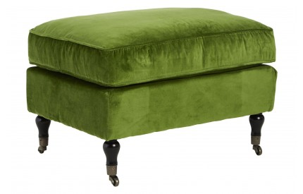 Plush Footstool Green Velvet Birchwood Legs With Wheels