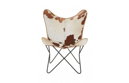 Bullworth Butterfly Chair Brown Genuine Cowhide Iron Frame