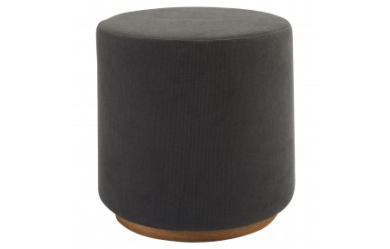 Kolding Round Stool Grey Fabric Ash Veneer Base