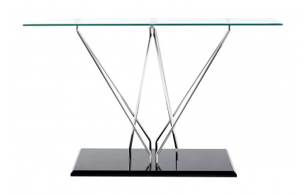 Grate Console Table Tempered Glass Cross Chrome & Black Base