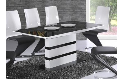 High Gloss White Extending Dining Table Black Glass Top