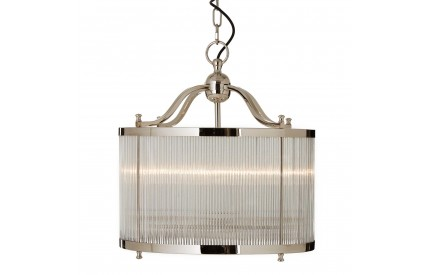 Buckingham Townhouse Pendant Iron / Glass Light Nickel / Gold Finish