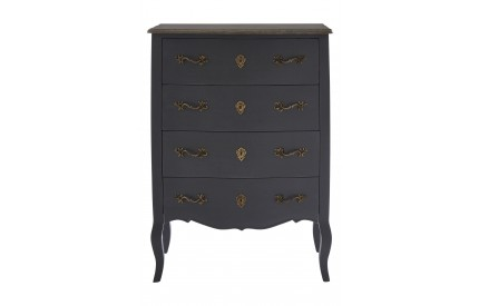 French Chest 4 Drawers Dark Grey / Grey Top