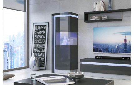 Lyon Tall Narrow Display Cabinet (RH) Grey Gloss