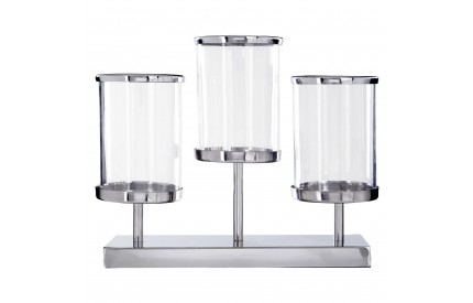 Buckingham Townhouse Candle Holder 3 Light Glass / Metal Base