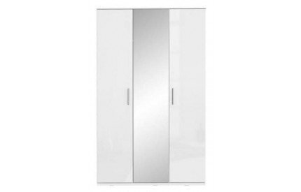 Topper High Gloss White Wardrobe Mirrored 3 Door