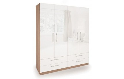 Moore High Gloss 4 Door 4 Drawer Wardrobe