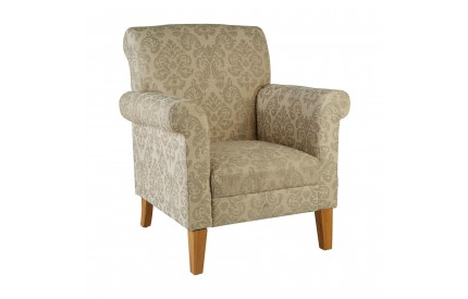 Armchair Polyester / Rubberwood (Hevea) Natural Damask Print