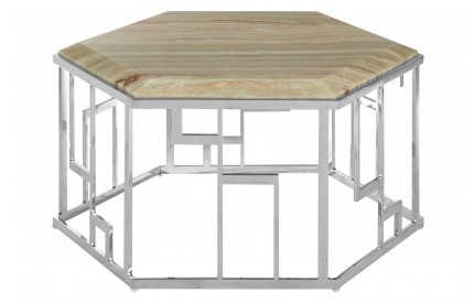 Relic Hexagonal Coffee Table Onyx Stone Stainless Steel Base