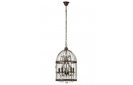 Antique Birdcage Pendant Light Iron / Crystal