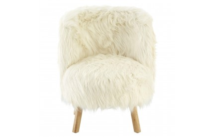 Kids Chair White Faux Fur Natural Wood Legs