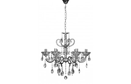Kendall Chandelier Chrome Iron Frame/Crystal/Glass 6 Arm