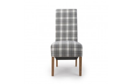 Krista Roll Back Herringbone Check Cappuccino Dining Chair