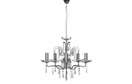 Alexis 5 Arm Chandelier Chrome Iron Frame Crystal / Glass
