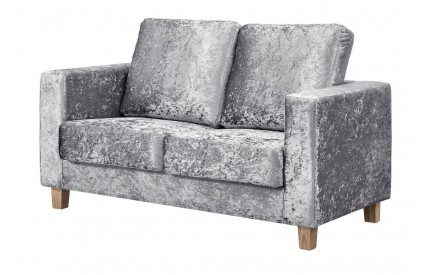 Simple 2 Seater Sofa Crushed Velvet Silver