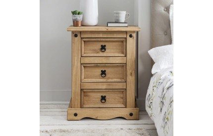 Solid Rustic Mexican Pine Bedside