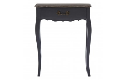 French Small Console Table 1 Drawer Dark Grey Bayur Wood