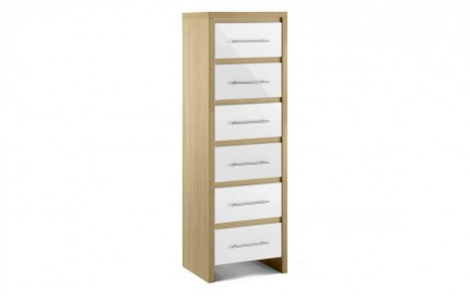 Stockholm 6 Narrow Chest of Drawers Oak Gloss White