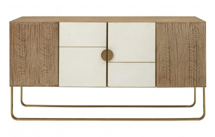 Solid Oak Gold Metal Sideboard Concrete Fronts