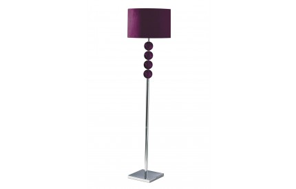 Mistro Floor Lamp Purple Orb / Chrome Base Purple Faux Suede Shade / EU Plug