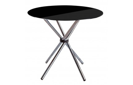 Dining Table Black Tempered Glass Chrome Finish Legs