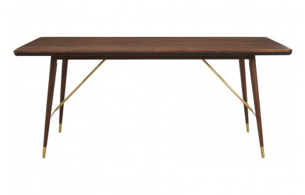 Kenso Dining Table Walnut Wood / Brass Finish Genuine Leather