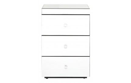 Guia Bedside Chest 3 Drawers Mirrored