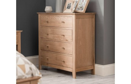 Salerno Shaker Oak 4 Drawer Chest of Drawers
