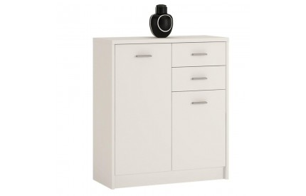 4 You 2 Door 2 Drawer Cupboard in Pearl White