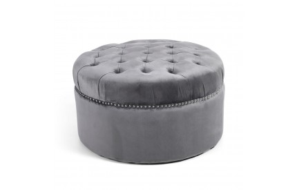 Milan Medium Round Studded Brushed Velvet Grey Pouffe