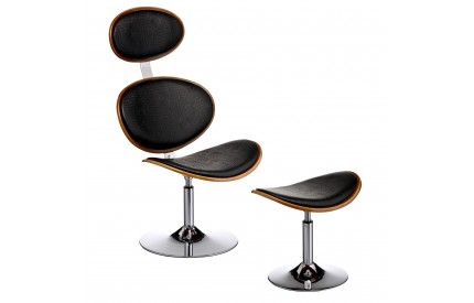 Chair and Footstool Black Leather Effect / Walnut Wood