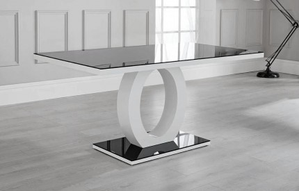 Eden High Gloss Dining Table White Black Glass Top