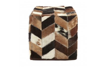 Lauren Pouffe Genuine Cowhide Leather Natural Patchwork
