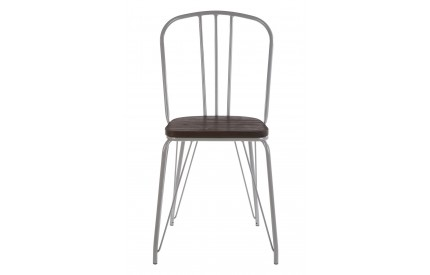 District High Back Chair Grey Metal and Elm Wood