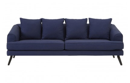 Mylo 3 Seater Sofa Navy Fabric Black Metal legs