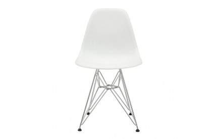 Eames DSR Plastic White with Steel Chrome Legs (4s)