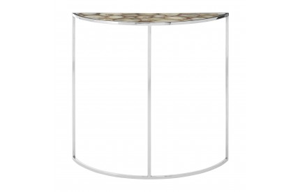 Vita Half Moon Table White Agate Top Silver Finish Steel Frame